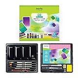 Pagos Aquarellfarben Set Profi 36 Festes Pigment Malkasten Hohe Pigmentierung, 12 Aquarellpapiere für Künstler, Studenten, Erwachsene Wasserfarben