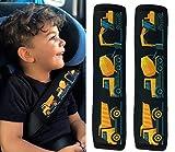 2x HECKBO® Auto Gurtschutz Sicherheitsgurt Schulterpolster Schulterkissen Gurtschoner Autositze Gurtpolster für Kinder, Jungen Jungs mit Baufahrzeuge, Bagger