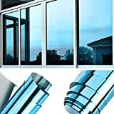 TTMOW Sichtschutzfolie Fenster, Spiegelfolie Selbstklebend, One Way Spiegel Reflektierende Fensterfolie, 99% UV-Schutz, 85% Sonnenschutz Wärmeisolierung, für Zuhause und Büro (Blau, 90 x 400cm)