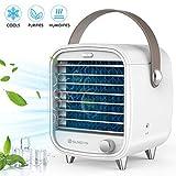Mini Air Cooler Persönlicher tragbarer klimagerät Mini-Klimaanlagenkühler, Schlafzimmerventilator, Sicherheit und Energieeinsparung, großer Wassertank, IED-Lampe (Weiß)