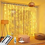 OMERIL LED Lichterkette Lichtervorhang 2,4mx1,8m, USB Lichterkettenvorhang mit Timer 8 Modi Fernbedienung, Wasserdichte Lichterkette für Garten, Party, Weihnachten, Schlafzimmer - Warmweiß