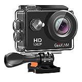 GeeKam Action Cam 1080P Full HD 30 m Unterwasserkamera 2 Zoll LCD 120 ° Weitwinkel-Sportkamera mit 1050mAh Akku und Zubehör-Kit Black