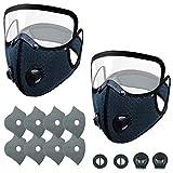 AIEOE Staubdichte Fahrradmaske mit Abnehmbar Visier Gesichtsschutz und 8pcs Ersatzfilter + 2pcs Luftventil