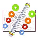 Teigroller mit Silikonmatte, Nudelholz Edelstahl, Teigrolle Einstellbar mit Distanz-Scheiben in 4 Größen, 44 cm für Backen Fondant, Pastry Dough