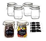 BigDean 6er Set Bormioli Fido Gläser mit Bügelverschluss 1L - inkl. 112 Etiketten + 2 Stiften - Lebensmittel einmachen & luftdicht aufbewahren - Vorratsgläser Einmachgläser Draht-Bügelglas
