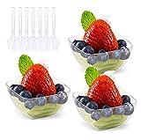 Lawei 100 Stück Desserttassen Einwegbecher mit Suppenlöffel Kunststoff Dessertbecher Dessertschalen für Party Geburtstag - 60 ml