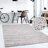 Hochflor Teppich | Shaggy Teppich fürs Wohnzimmer Modern & Flauschig | Läufer für Schlafzimmer, Esszimmer, Flur und Kinderzimmer | Langflor Carpet grau 120x170 cm