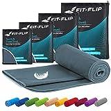 Fit-Flip Microfaser Handtücher Set – 15 Farben, 6 Größen – Ultra leicht, kompakt & schnelltrocknend – Sporthandtuch, Strandhandtuch und Saunahandtuch (Set: 70x140cm + 30x50cm + 1 Tasche, Dunkel Grau)