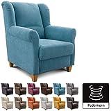Cavadore Sessel Finja mit Federkern / Ohrensessel im Landhausstil / passender Hocker separat erhältlich / 87 x 102 x 96 / Webstoff Hellblau