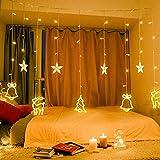 138 LED Lichtervorhang, LED Lichterkette mit Sterne & Weihnachtsmuster, Weihnachtsbeleuchtung Innen/Außen, EU Stecker, Wasserdicht Dekoration für Weihnachtsdeko Christmas (Warmweiß)