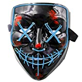 MeiGuiSha LED Maske Purge Maske mit 3 Blitzmodi für Halloween Fasching Karneval Party Kostüm Cosplay Dekoration Halloween Gruselige Maske(Blau), Blau