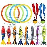 ThinkMax 14 STK. Tauchspielzeug mit 4 Tauchringen, 2 Seetang-Tauchbällen und 8 Tauchtorpedos, Kindersommer-Strandspielzeug, Klassische Wasserspiele für den heißen Sommer