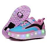 evenlove USB wiederaufladbar Unisex Kinder Inline Skates Outdoor Sport Fitnessschuhe Skateboardschuhe mit Rollen Drucktaste Einstellbare Rollerblades Gymnastik Running Sneaker für Jungen M?dchen