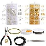 DBAILY Schmuck Reparatur Kit, Schmuckherstellungsset Schmuck Basteln Zubehör Silber Gold DIY Schmuck Basteln mit Zangen Set für Ohrring Armband Halsketten Anfänger