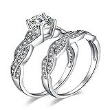 JewelryPalace Liebe Herz Windet Kubik Zirkonia Engagement Hochzeit Verlobung Traunng Braut Set Ringe Silberring 925 Sterling Silber