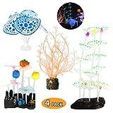 Welltop Aquarium Dekorationen 4er-Pack Glowing Effect Aquarium Dekor, mit Harzbasis, Wasserpflanze, für Aquarium- und Aquariumlandschaft