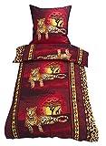 2 tlg. Bettwäsche 135 x 200 cm in rot/gelb aus Microfaser Gestreift Leopard Afrika (Qualitätsware)
