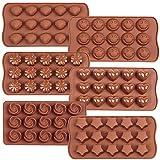 Iindes 6PCS schokoladenformen Silikon,Pralinenform aus silikonLächeln,Stern, Muschel,Runde,Blume und Herz Schokoriegel Eiswürfel Candy Backblech Schimmel Essen Note Antihaft-Formen (Schokolade)