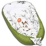PALULLI Kuschelnest 2-seitig Babynest Babynestchen Baby Nest Nestchen Reisebett Wickelauflage Kuschelbett, Kokon Kokon für Babybett - Babys und Säuglinge, 100% Baumwolle OEKO TEX (Bambi Limited)