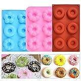 """""""N/A"""" 3 Pack Silikon Donut Formen, Donut Backform Form Blatt Behälter Hitzebeständigkeit für Kuchen Keks Bagels Muffins- Rose,Red, Blau"""