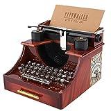 Duokon Vintage Schreibmaschine Stil mechanische Spieluhr Geschenk Schmuckschatulle mit Schublade Klassische Spieldosen Veranstalter