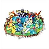 Wandtattoo Pokemon 3D Passent durch Wandaufkleber für Kinderzimmer Wandaufkleber Cartoon Pikachu Plakate 50 x 70 cm