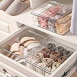 PFLife Aufbewahrungsbox für Unterwäsche, Schubladen Unterwäsche Organizer, Schrank Ordnungssystem, transparentes Aufbewahrungsbox mit Deckel, für BH, Unterwäsche und Socken (8-T-30.5*25*10.5)