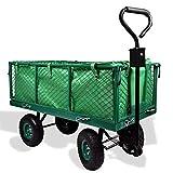 Izzy Bollerwagen Luftreifen 300kg belastbar Transportwagen Gartenkarre herausnehmbare Plane Gerätewagen Handwagen vielseitig einsetzbar (Gartenwagen klappbar 300kg Traglast)