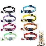Sunshine smile katzenhalsband mit sicherheitsverschluss,8 Stück Schnellverschluss Katzenhalsband,Reflektierendes Katzenhalsband,verstellbar Nylon Katzenhalsband,Verstellbar Halsband Katze Kitten