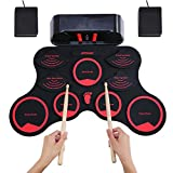 Elektronisches Schlagzeug,ammoon mit eingebauten Stereolautsprechern Kreative Geburtstagsgeschenke mit 9 Silikon-Drum-Pads, geeignet für Kinderspielzeug und Anfänger