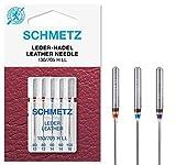 SCHMETZ Nähmaschinennadeln 5 Leder-Nadeln | 130/705 H LL | Nadeldicken: 2X 80/12, 2X 90/14, 1x 100/16 | geeignet für alle gängige Haushalts-Nähmaschinen