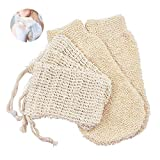 Seifensäckchen bio Sisal Seifenbeutel 3 + 2 Bambus sanftes Peeling Handschuh Seifensack Seifenreste Seifentasche Peeling Massage