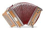 Alpenklang 4/III Harmonika'Deluxe' G-C-F-B Kirsch (Steirische Harmonika/Knopfakkordeon, Blumendesign, Holz, mit Koffer und Riemen)