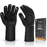Vemingo Feuerfeste Handschuhe Grillhandschuhe Ofenhandschuhe   EN407 Hitzebeständige Bis zu 800 ° C   Kochhandschuhe Backhandschuhe für BBQ Kochen Backen   Schweißen-Klassisch