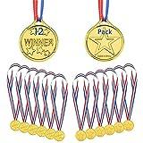 KANOSON Medaillen Gold, 12 Stücke Kunststoff Gewinner Kinder Medaille Olympics Goldmedaillen, Medaillen für Kindergeburtstag Party Spiele Prizzes Sportstag Spielzeug Wettbewerb Auszeichnungen