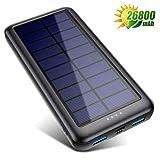 Solar Powerbank 26800mAh【iPosible Neueste S4 Solar Ladegerät】mit USB-C Eingang,Power Bank Externer Akku Akkupack mit 2 Ausgänge Tragbares Ladegerät für Handy Tablet und USB-Geräten, für Camping