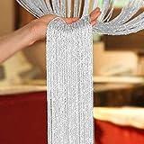 AIZESI Schiebevorhänge Duschvorhänge Fadenvorhang Weiss 90x200 Vorhänge Funkelnd Silber Fadengardine Verdunklungsvorhänge(White)
