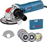 Bosch Professional Winkelschleifer GWX 750-125 (Scheiben-Ø  125 mm, inkl. 5tlg. Trenn- und Schruppscheiben Set, Schutzhaube 125mm, im Koffer) - Amazon Edition