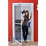 Premium Slim PLUS Fliegengitter für Tür bis max. 113 x 233 cm | mit Fiberglasgewebe - Profi Insektenschutz - 120 cm x 240 cm weiß
