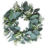 Kapmore Eukalyptus Künstlich, 12,99' Kranz Weihnachten Türkranz Wandkranz Efeugirlande Eukalyptus Künstlich Hängen Reben Blätter für Hochzeit, Party, Garten, Wanddekoration