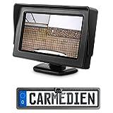 Carmedien Auto Rückfahrsystem cm-DNRFS1 mit Nummernschild Rückfahrkamera Einparkhilfe mit Distanzlinien für PKW KFZ