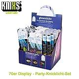 KNIXS 70iger Display Party-Knicklichtset inkl. Power-Knicklichter, 25 Knicklicht-Brillen, 160 Arm-Kicklichter für Party, Festival oder Geburtstag - geprüfte Markenqualität