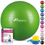 TRESKO® Anti-Burst Gymnastikball 55cm 65cm 75cm 85cm | Sitzball | Yogaball | 300 kg | mit Luftpumpe (Grün, 75cm (geeignet für 175-185cm))