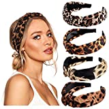 vamei Haarreif Damen Breit Stirnband Damen Vintage Haarband Damen Knoten Bandana Kopfband Turban Mädchen Haarreifen Damen Stirnbänder Haarschmuck (Leopard)