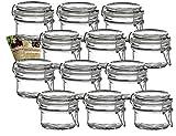 gouveo 12er Set Bügelgläser 120 ml Rund incl. 28-seitige Flaschendiscount-Rezeptbroschüre Vorratsgläser mit Bügelverschluss