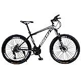 Mountainbikes 26 Zoll Fahrrad mit Gabelfederung & Beleuchtung 21-Gang Shimano Scheibenbremsen Hardtail MTB, Trekkingrad Herren Bike Mädchen-Fahrrad, Vollfederung Mountain Bike (schwarz)