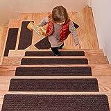 DanceWhale 15er Set Stufenmatten (76.2 x 20.3 cm) Treppenmatten Treppen rutschfest Selbstklebende Treppenteppich, Sicherheit Stufenteppich für Kinder, Älteste und Haustiere, Kaffee