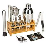 SUPHOOK Cocktail Set 19 Teilig, Cocktail Shaker 750ML, Cocktail Shaker Edelstahl Bar-Werkzeug-Set, Cocktail Set mit Rezeptbuch, Bar Set Bar Zubehör Shakerset mit Sieb