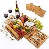 Extra großes Käsebrett aus Bambus, Käseplatte enthält Untersetzer - versteckter Schublade mit Korkenzieher, Flaschenverschluss, Käsemesser Set und Serviergabeln - Perfektes Geschenk - Von PlaNet
