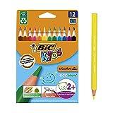 Bic Kids ECOlutions Evolution Buntstifte – Dreikant Farbstifte für Kinder ab 2 Jahren – Ergonomisch – Fördert richtige Handhabung – Bruchsichere Mine – Ohne Holz – Buntstifte Set mit 12 Buntstiften